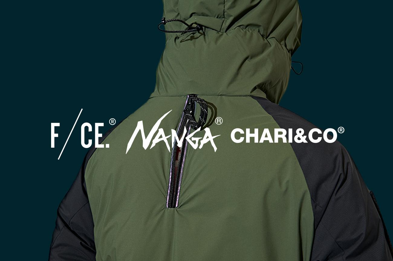 × F/CE. × NANGA HALF DOWN PARKER